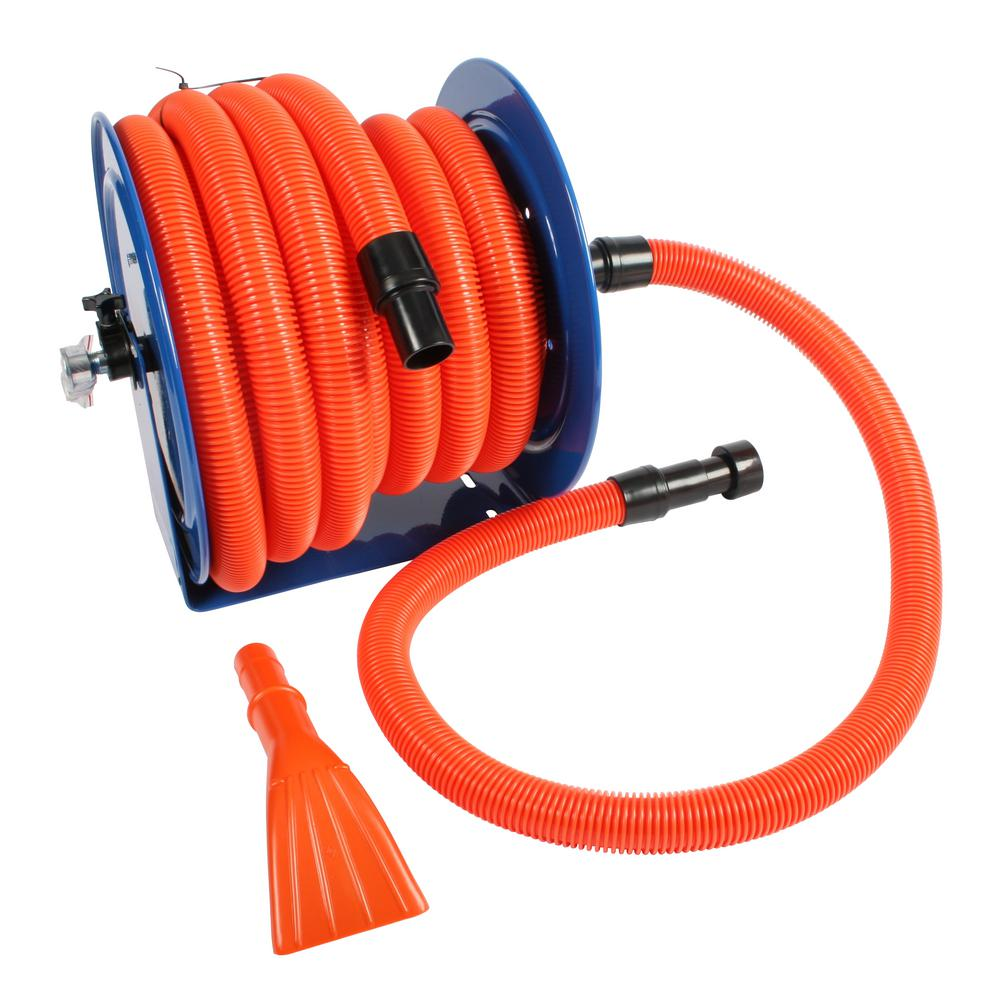 Cen Tec Industrial Hose Reel And 50 Ft Hose With Adapters For Wet Dry Vacuums 92146 The Home