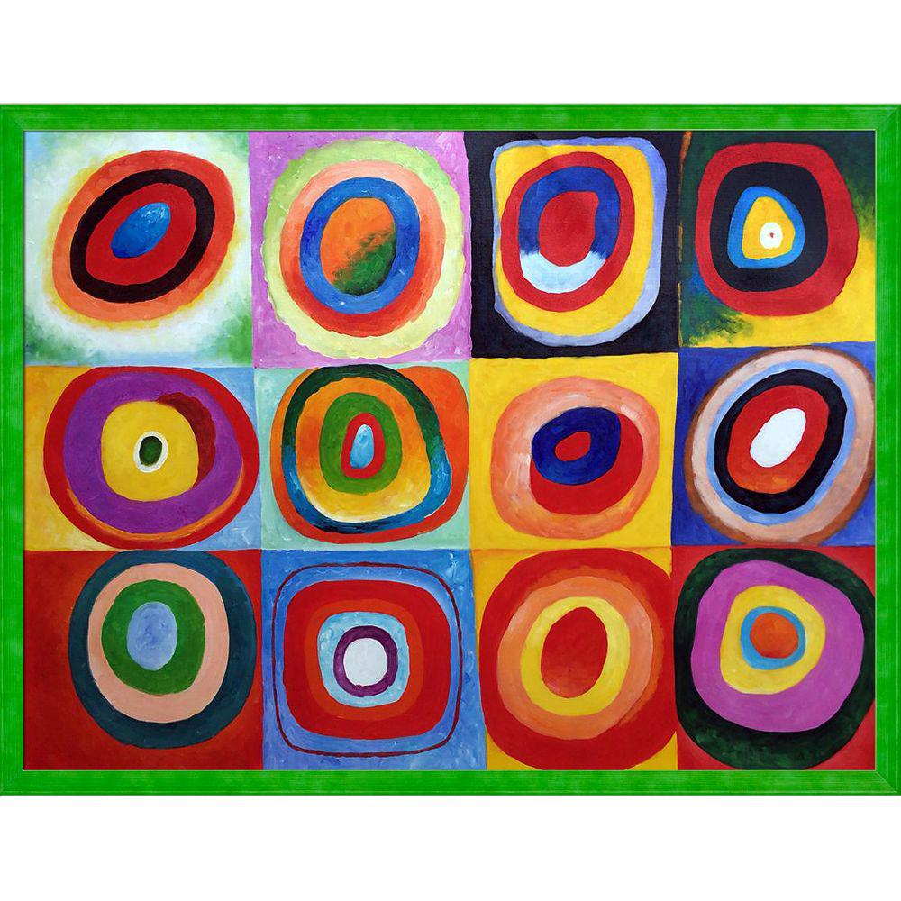 LA PASTICHE Farbstudie Quadrate with Jubilee Green Frameby Wassily Kandinsky Oil Painting, Multi-Colored was $962.0 now $590.73 (39.0% off)