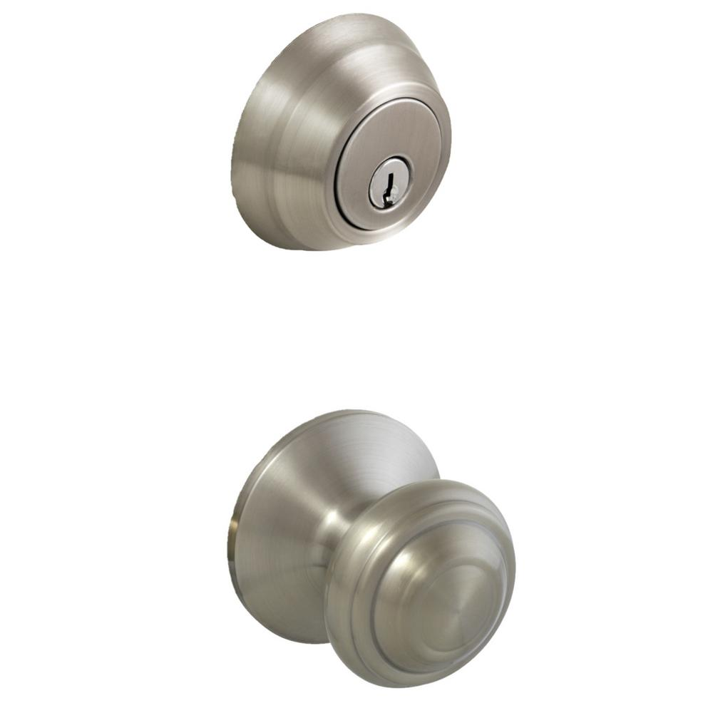 Madrid Satin Nickel Passage Knob and Wavelet Single Cylinder Combo Pack