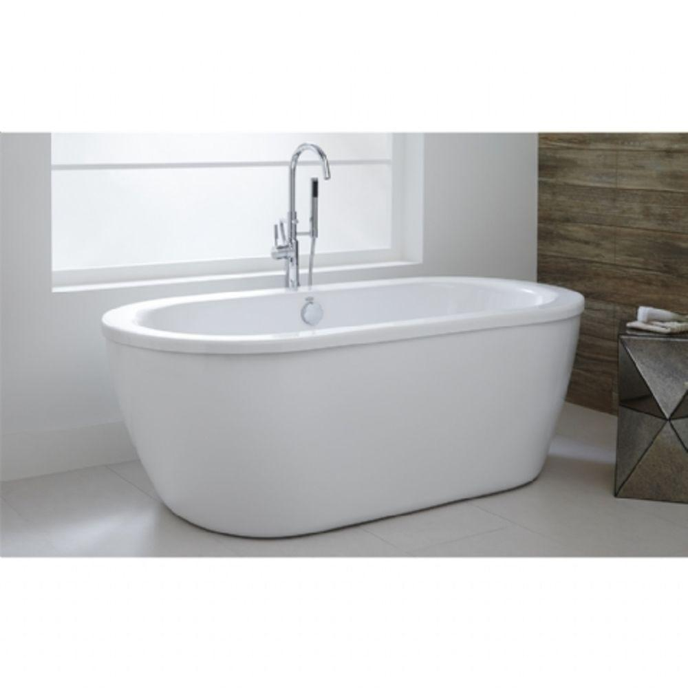 American Standard Freestanding Tub.American Standard Cadet 5 5 Ft Acrylic Flatbottom Freestanding Bathtub In Artic White With Polished Chrome Drain And Filler