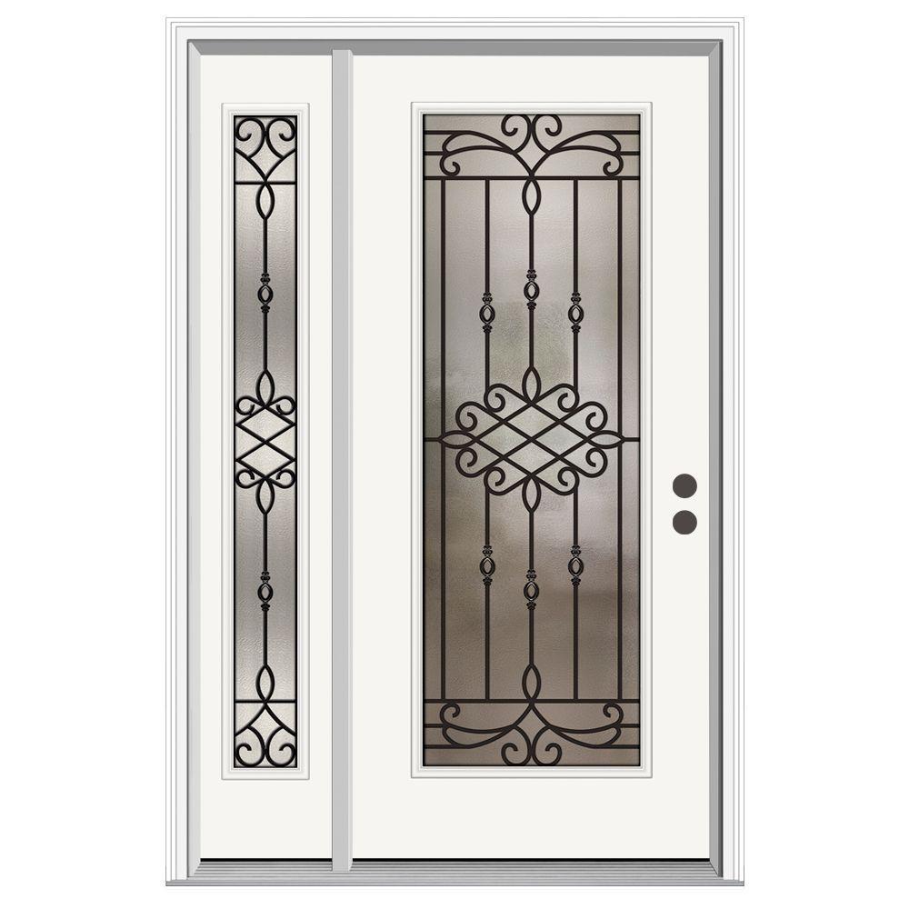 50 in. x 80 in. Full Lite Sanibel Primed Steel Prehung Left-Hand Inswing Front Door with Left-Hand Sidelite