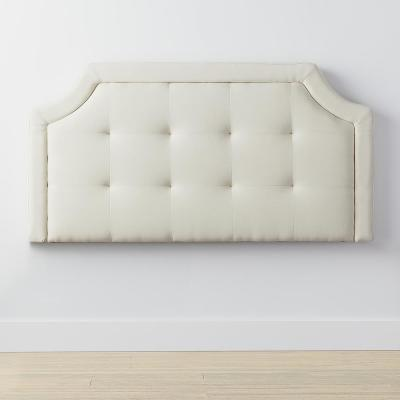 Upholstered Scoop-Edge Cream Full Headboard with Square Tufting