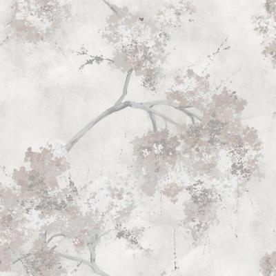 Weeping Cherry Tree Blossom Beige Vinyl Peelable Roll (Covers 28.29 sq. ft.)