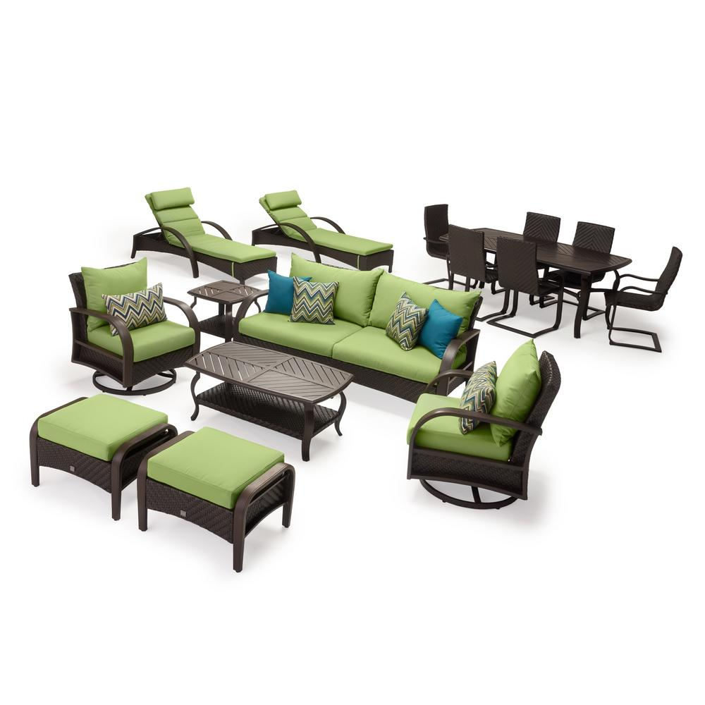 RST Brands Barcelo Estate 16-Piece Wicker Patio Conversation Set with Sunbrella Ginkgo Green Cushions