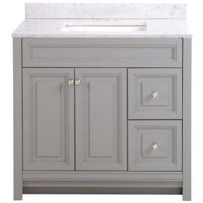 Brinkhill 37 in. W x 22 in. D Bath Vanity in Sterling Gray with Stone Effect Vanity Top in Pulsar with White Basin