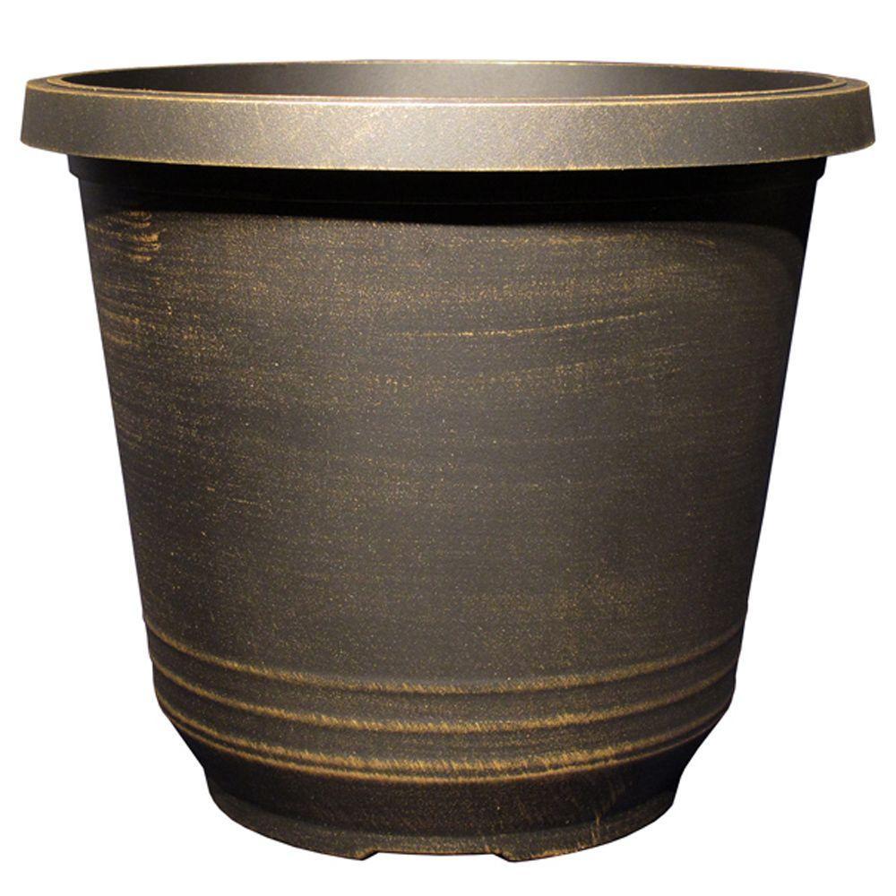 14 in. Torino Round Black Bronze Plastic Planter