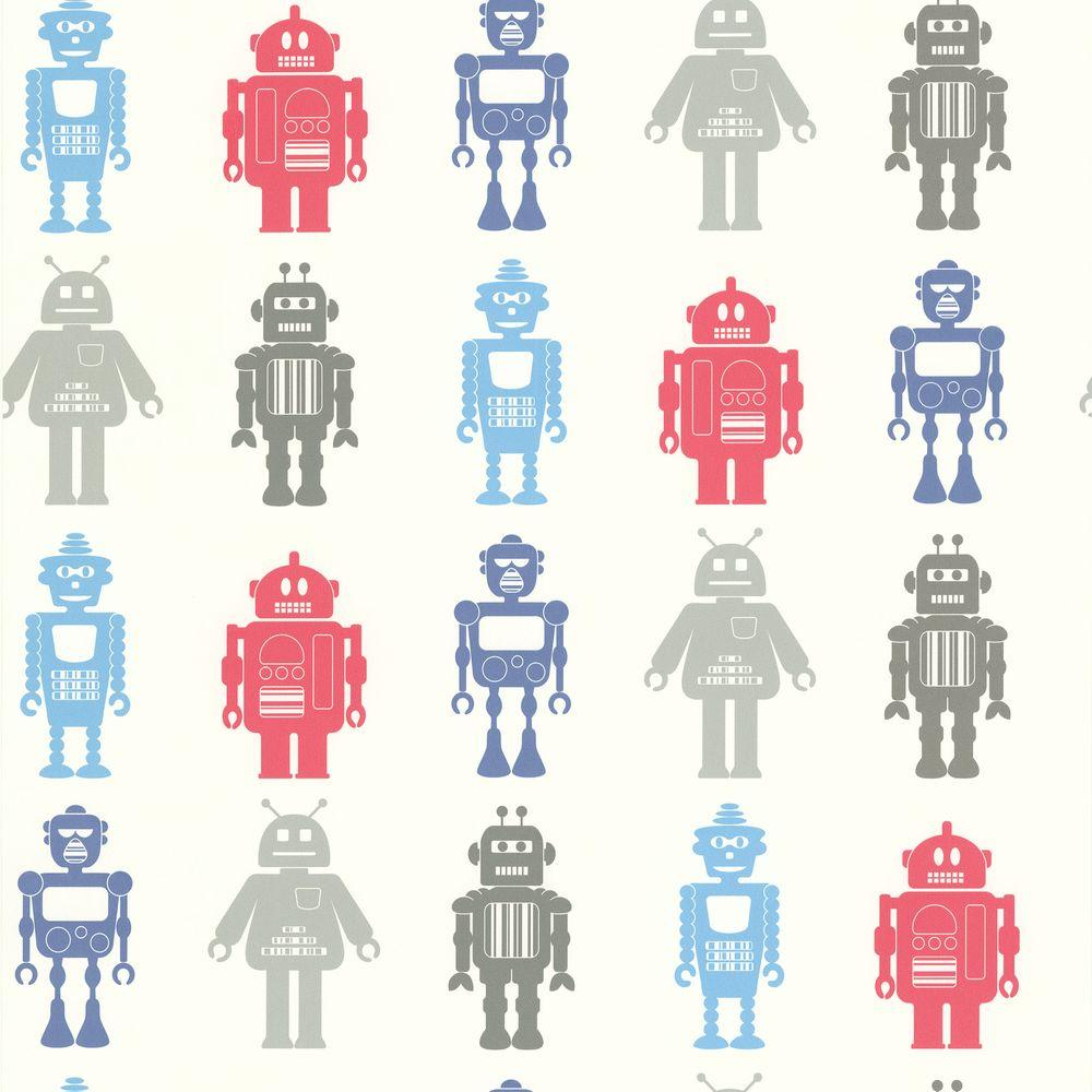null Kids World Multi Color Robot League Wallpaper Sample