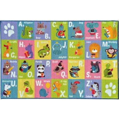 Multi-Color Kids Children Bedroom and Playroom ABC Alphabet Animal Educational Learning 3 ft. x 5 ft. Area Rug