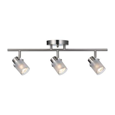 22.5 in. Brushed Nickel GU10 Fixed Track Lighting Kit with Frosted Glass Shades