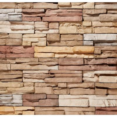 ClipStone 9 in. x 4 in. Manufactured Stone Prostack Poinset Corner Siding (4 ft. Pack), Multicolored & Cream