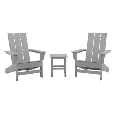 Aria Light Gray Recycled Plastic Modern Adirondack Chair with Side Table (2-Pack)