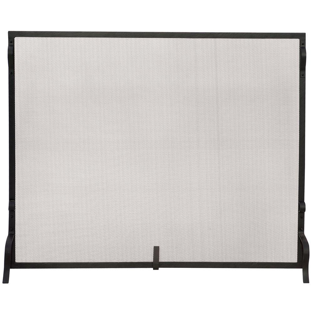 Beautify your fireplace hearty by adding this UniFlame Black Wrought Iron Medium Single-Panel Sparkguard Fireplace Screen.