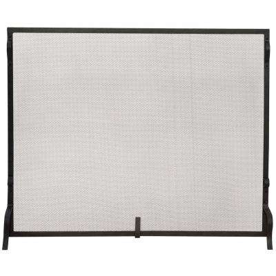 Black Wrought Iron Medium Single-Panel Sparkguard Fireplace Screen