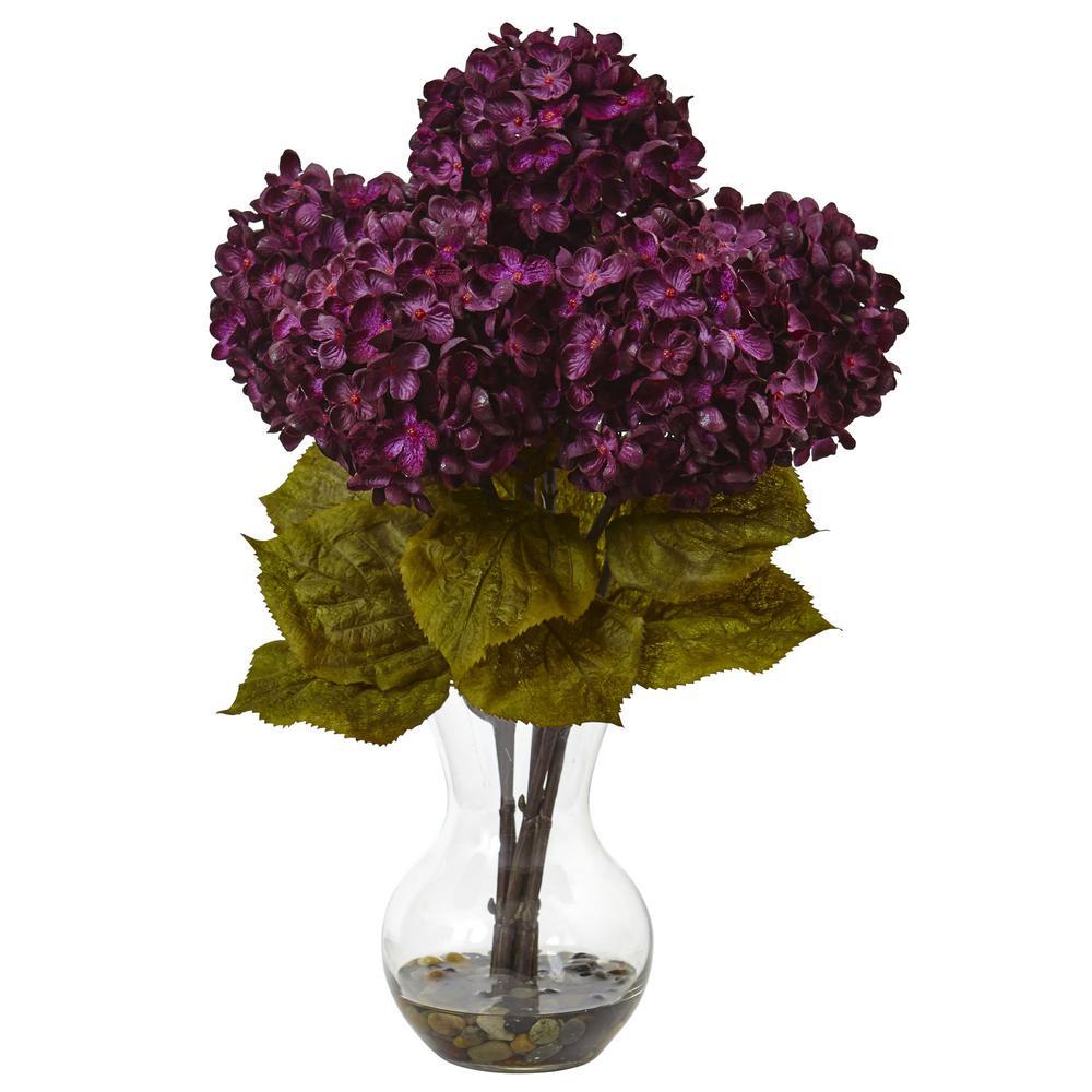 Nearly Natural Hydrangea with Vase Silk Flower Arrangement 1440-PP