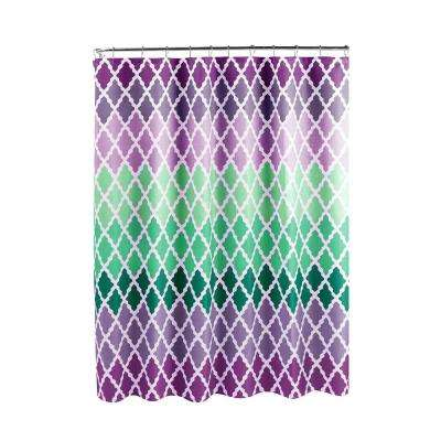 Diamond Weave Textured 70 in. W x 72 in. L Shower Curtain with Metal Roller Rings in Gateway Lattice Purple