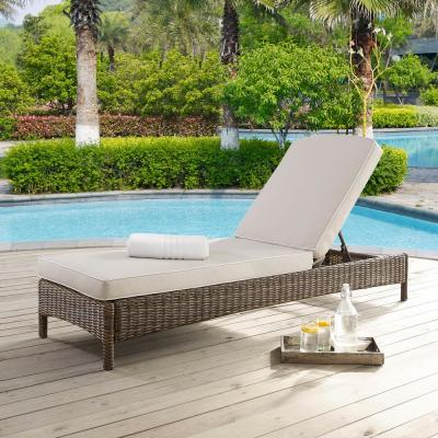 Palm Harbor Wicker Outdoor Chaise Lounge with Sand Cushions