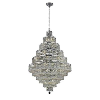 30-Light Chrome Chandelier with Clear Crystal
