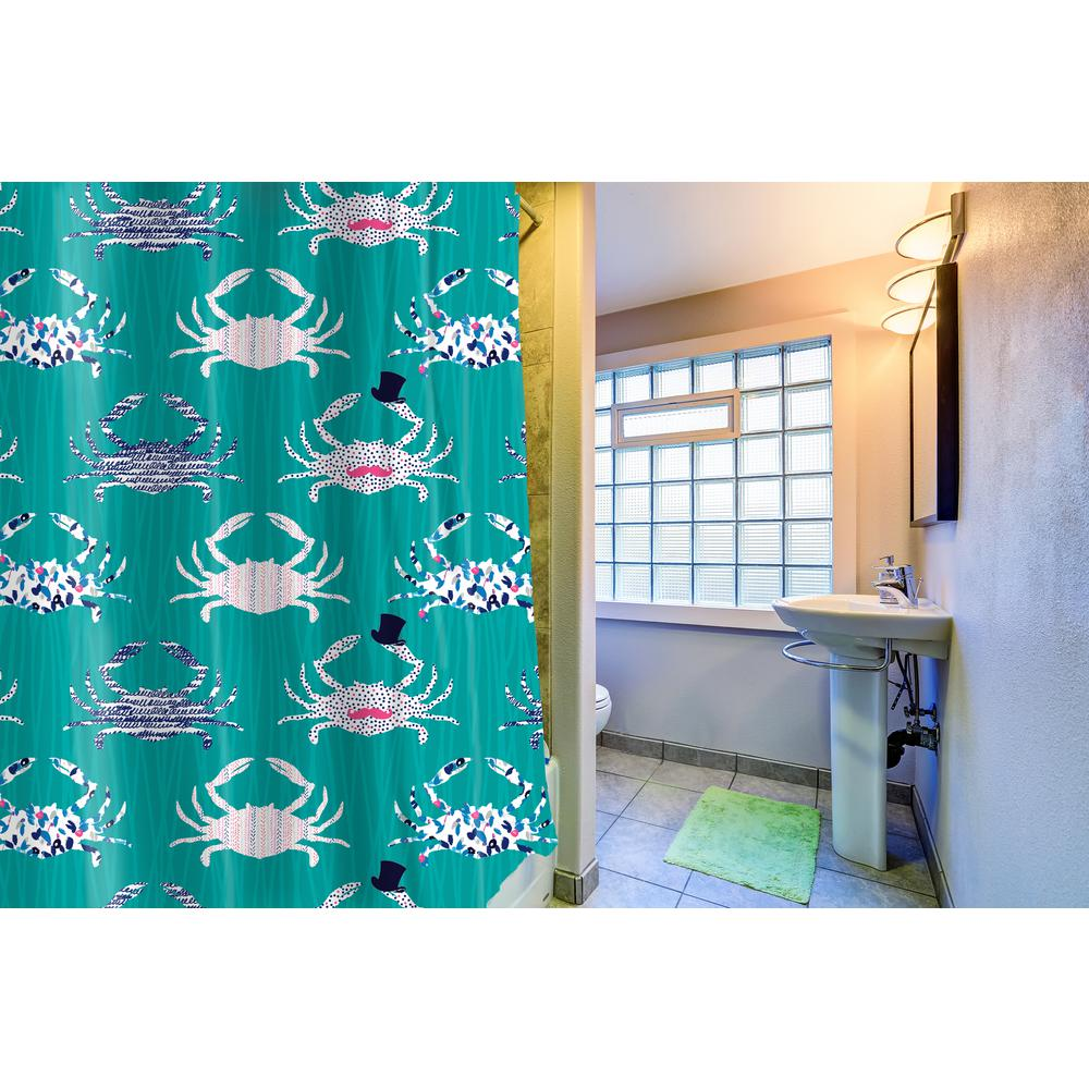 Inspired Surroundings CRABS SHOWER CURTAIN SC10938TEAL