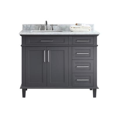 Newport 42 in. Single Bath Vanity in Charcoal with Marble Vanity Top in Carrara White with White Basin