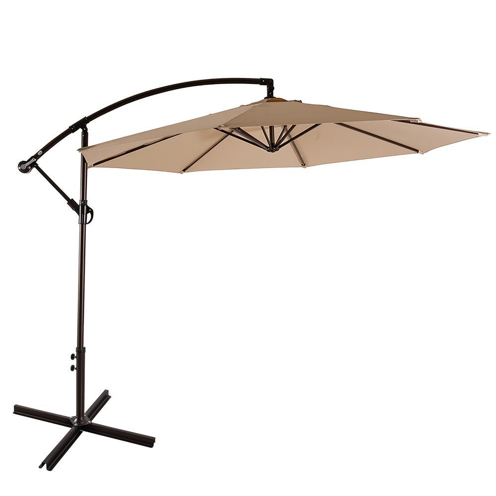 Bayshore 10 ft. Cantilever Hanging Patio Umbrella in Beige