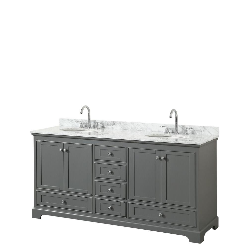 Deborah 72 in. Double Bathroom Vanity in Dark Gray with Marble Vanity Top in White Carrara with White Basins