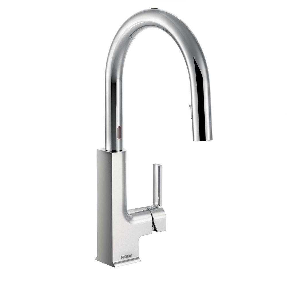 MOEN STo Single Handle Pull Down Sprayer Touchless Kitchen Faucet With  MotionSense In Chrome