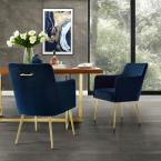 Capelli Navy/Gold Velvet Metal Leg Dining Chair (Set of 2)