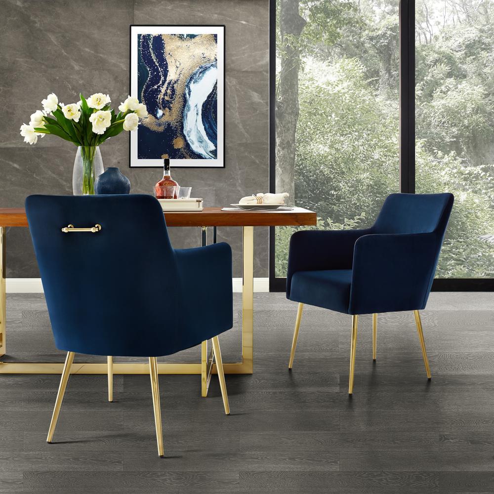 Capelli Navy/Gold Velvet Metal Leg Dining Chair (Set of 2)