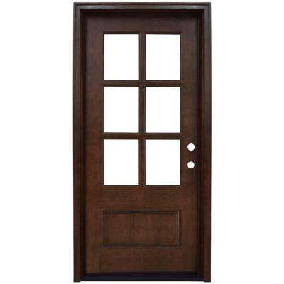 Savannah 6 Lite Stained Mahogany Wood Prehung Front Door  sc 1 st  The Home Depot : hardwood door - pezcame.com