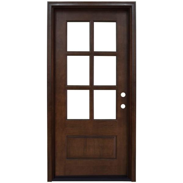 36 in. x 80 in. Savannah Left-Hand 6 Lite Clear Stained Mahogany Wood Prehung Front Door