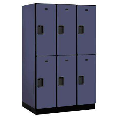 22000 Series Double Tier 24 in. D 6 Compartments Extra Wide Designer Wood Locker in Blue