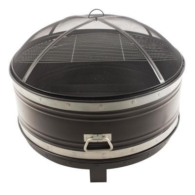 Colossal 36 in. Round Steel Fire Pit in Black and Silver with Cooking Grid