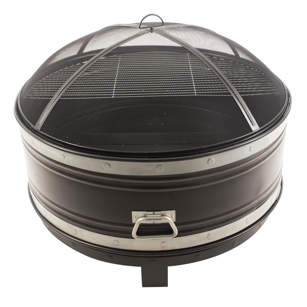 Pleasant Hearth Colossal 36 in. Steel Fire Pit in Black and Silver with Cooking Grid