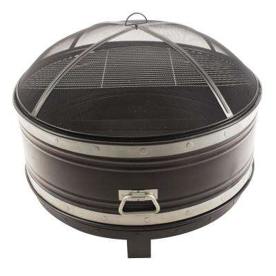 Colossal 36 in. Steel Fire Pit in Black and Silver with Cooking Grid