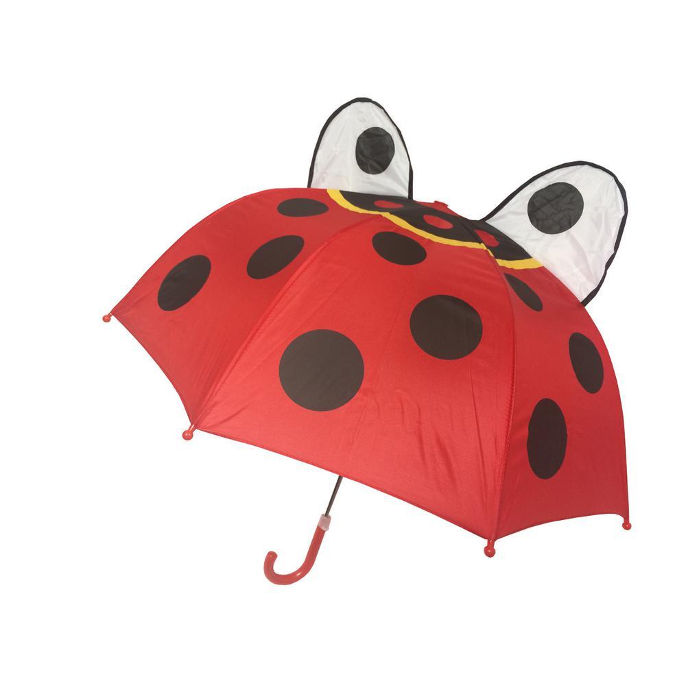Kingstate 38 in. Arc Childrens Animal Head Umbrella in Ladybug