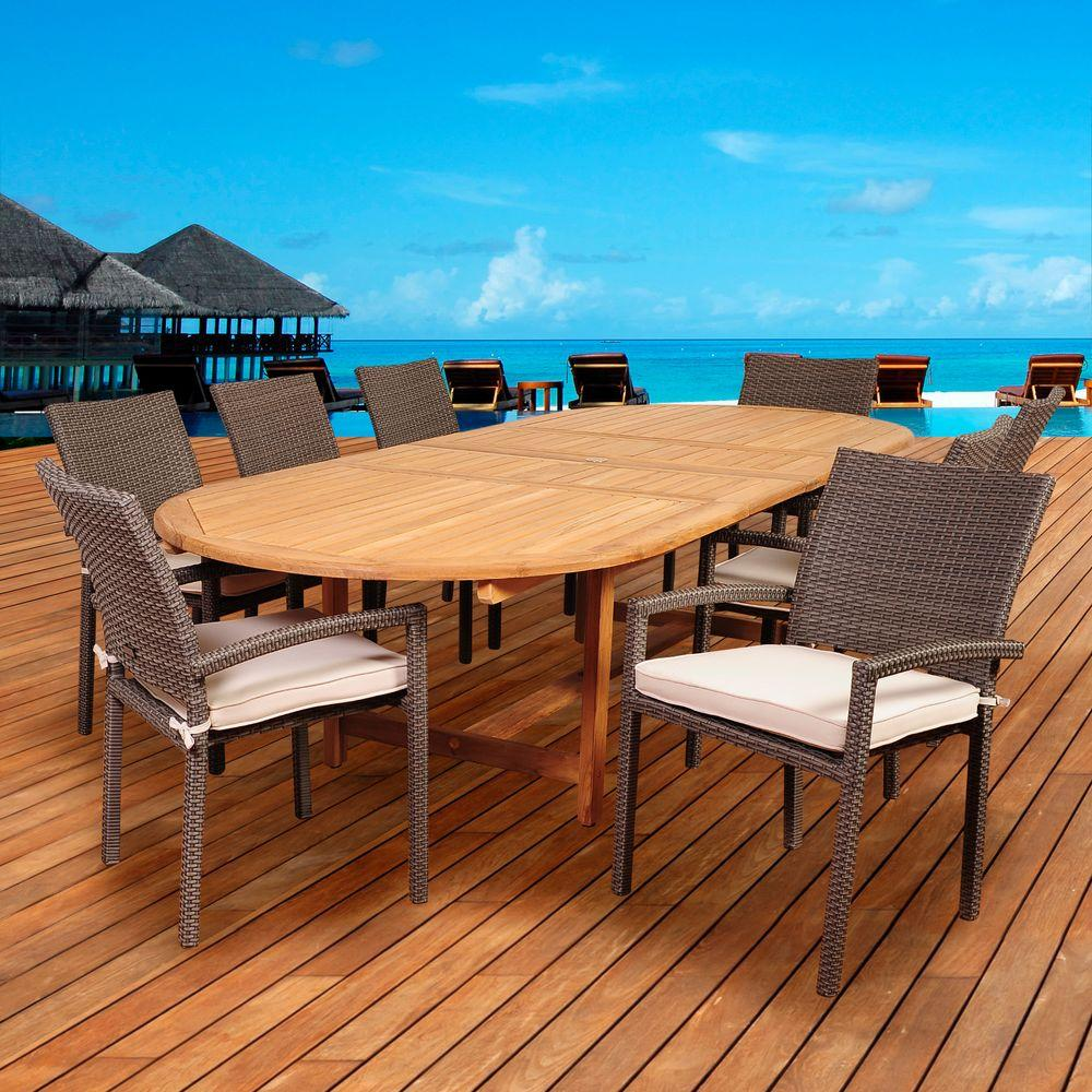 Amazonia Leeroy 9-Piece Teak/Wicker Double Extendable Oval Patio Dining Set with Off-White Cushions