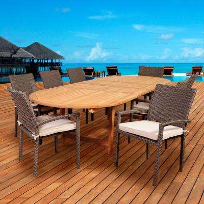 Leeroy 9-Piece Teak/Wicker Double Extendable Oval Patio Dining Set with Off-White Cushions