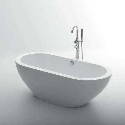 Lina 60 in. Acrylic Flatbottom Bathtub in White
