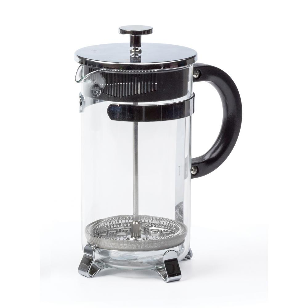 rsvp international endurance 8 cup french press in glass stainless steel fp 8 the home depot. Black Bedroom Furniture Sets. Home Design Ideas