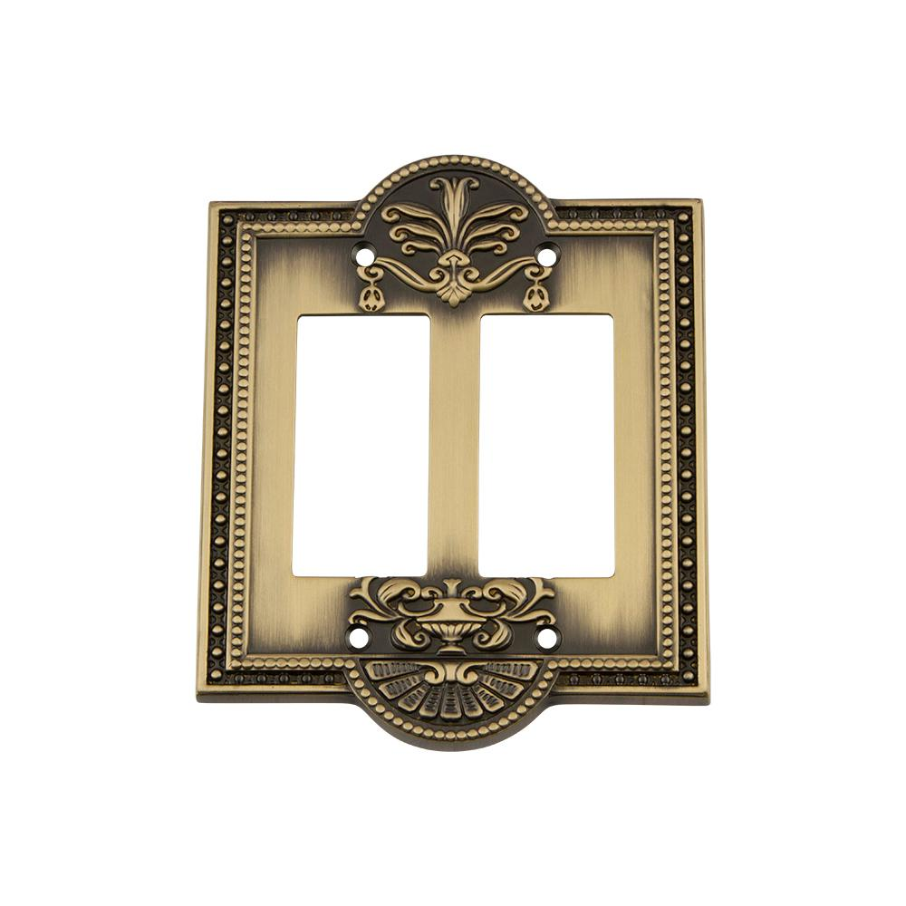 Meadows Switch Plate with Double Rocker in Antique Brass