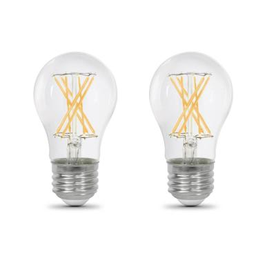 60-Watt Equivalent A15 Dimmable Filament CEC Clear Glass LED Ceiling Fan Light Bulb, Soft White 2700K (2-Pack)