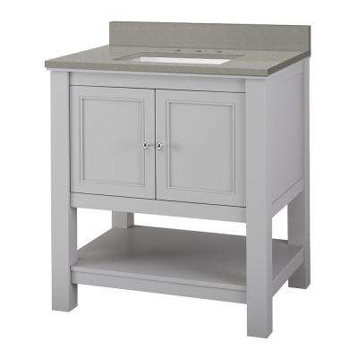 Gazette 31 in. W x 22 in. D Vanity Cabinet in Grey with Engineered Quartz Vanity Top in Sterling Grey with White Basin