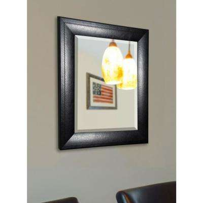 35.75 in. x 35.75 in. Stitched Black Leather Rounded Beveled Floor Wall Mirror