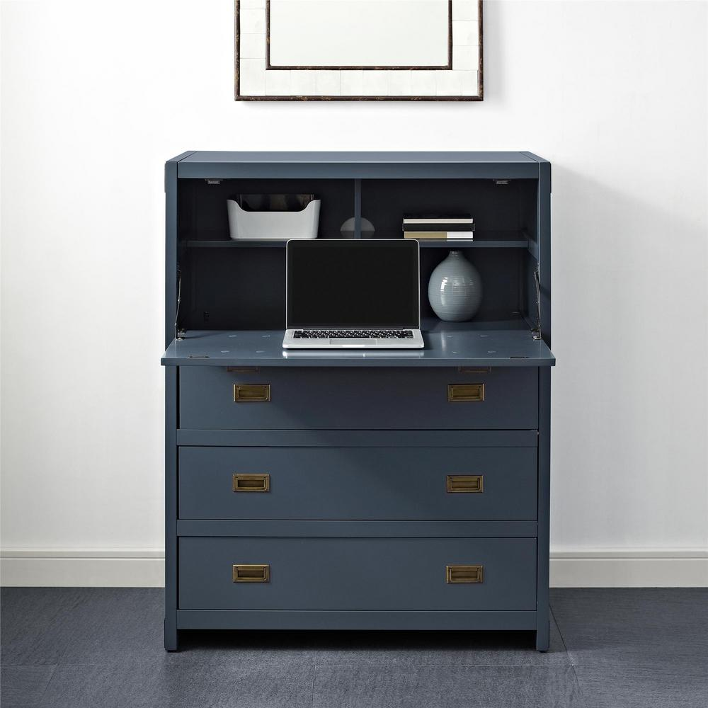 Miles 5 Drawer Graphite Blue Desk Chest