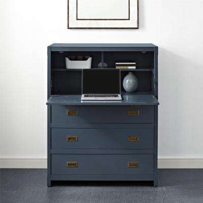Miles 5 Drawer Graphite Blue Desk Chest