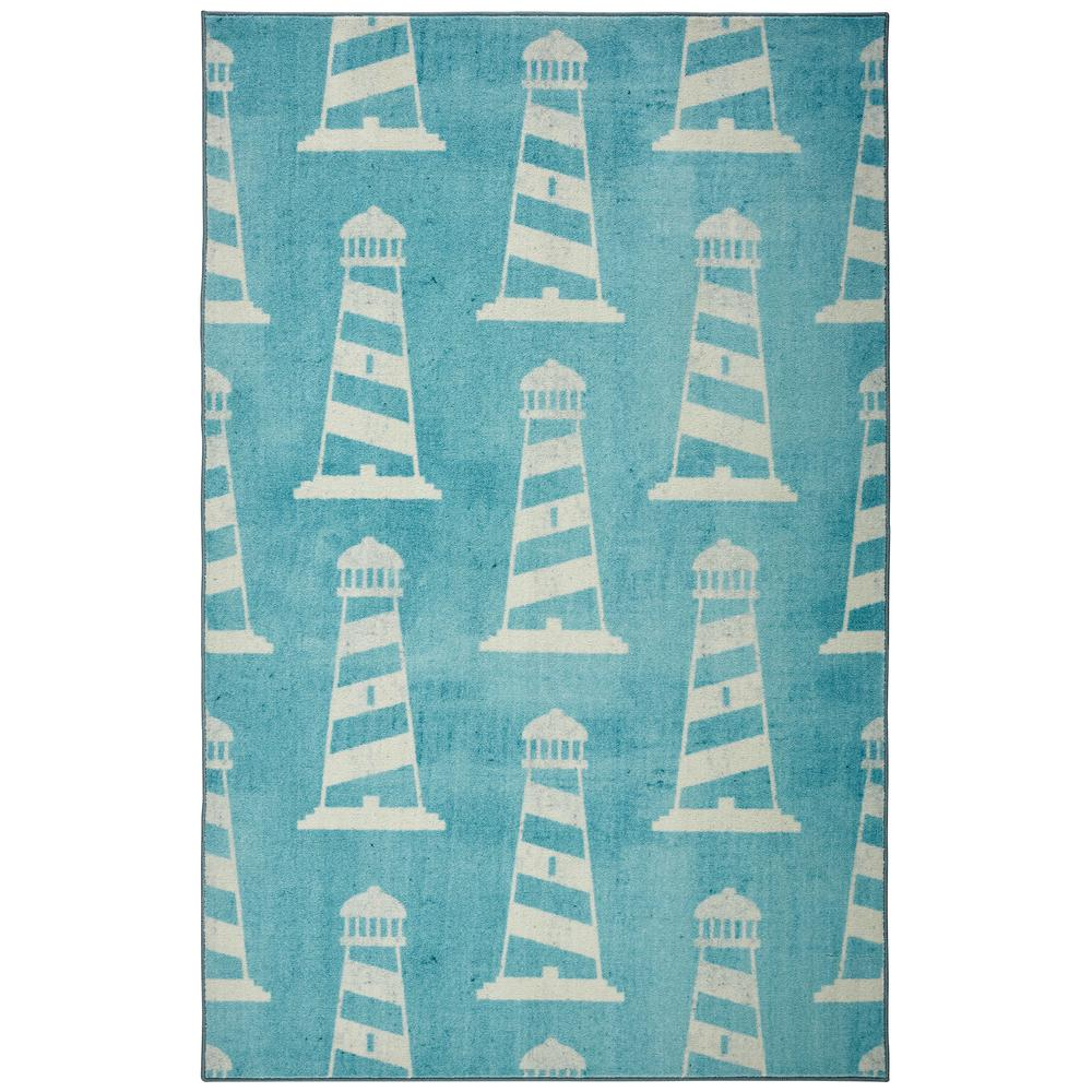 Christmas Area Rugs 8 X 10.Mohawk Home Seaside Lighthouse Light Blue 8 Ft X 10 Ft Indoor Area Rug