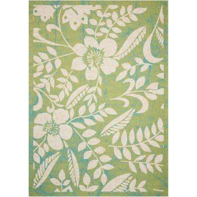 Home and Garden Green 5 ft. 3 in. x 7 ft. 5 in. Indoor/Outdoor Area Rug