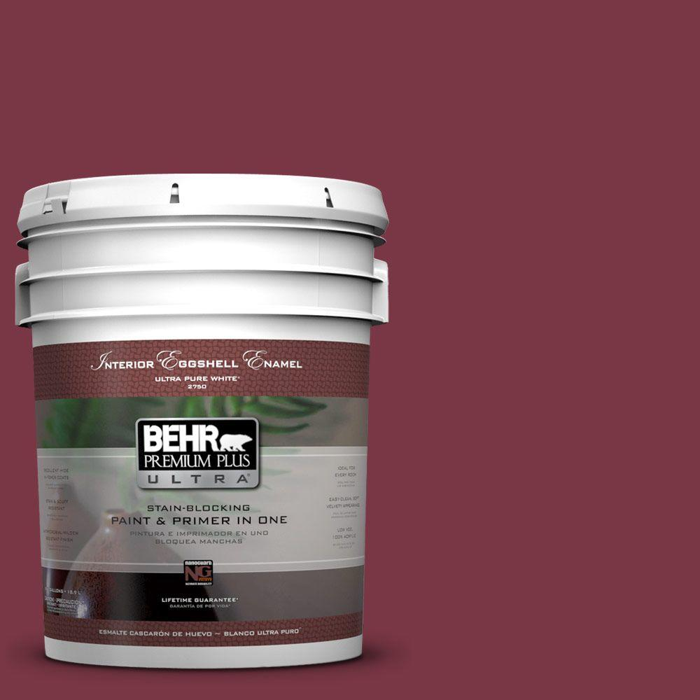 BEHR Premium Plus Ultra 5 gal. #S-H-110 Wine Tasting Eggshell Enamel Interior Paint and Primer in One, Reds/Pinks