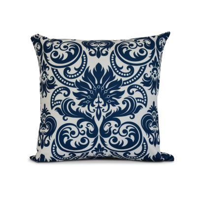 Alexys Floral Print Throw Pillow in Blue