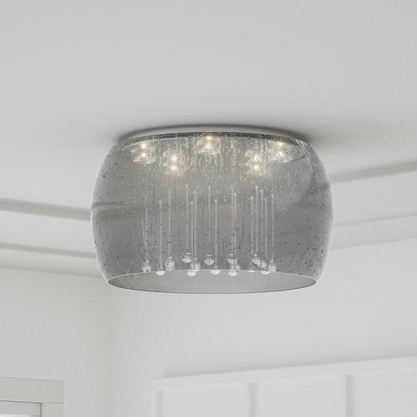 Home Decorators Collection 5 Light Chrome Glass Integrated Led Flush Mount With Clear Glass Beads 17160 The Home Depot